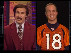 In the character of Ron Burgundy, Will Ferrell interviewed celebrities like Peyton Manning.